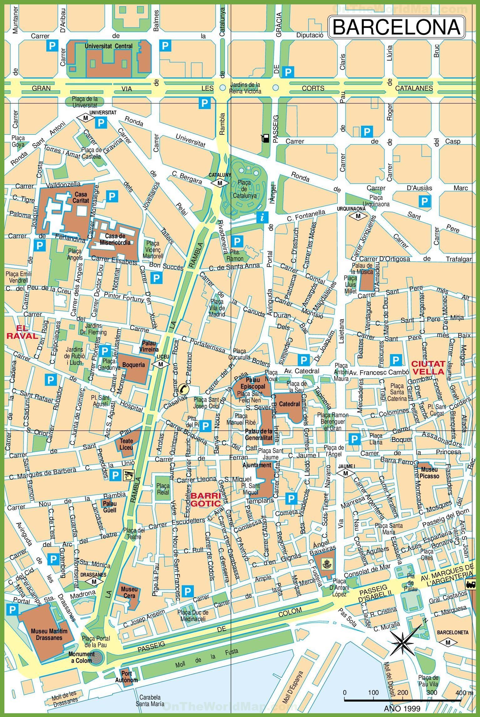 Keskus Barcelona Kartta Kartta Center Barcelonassa Katalonia