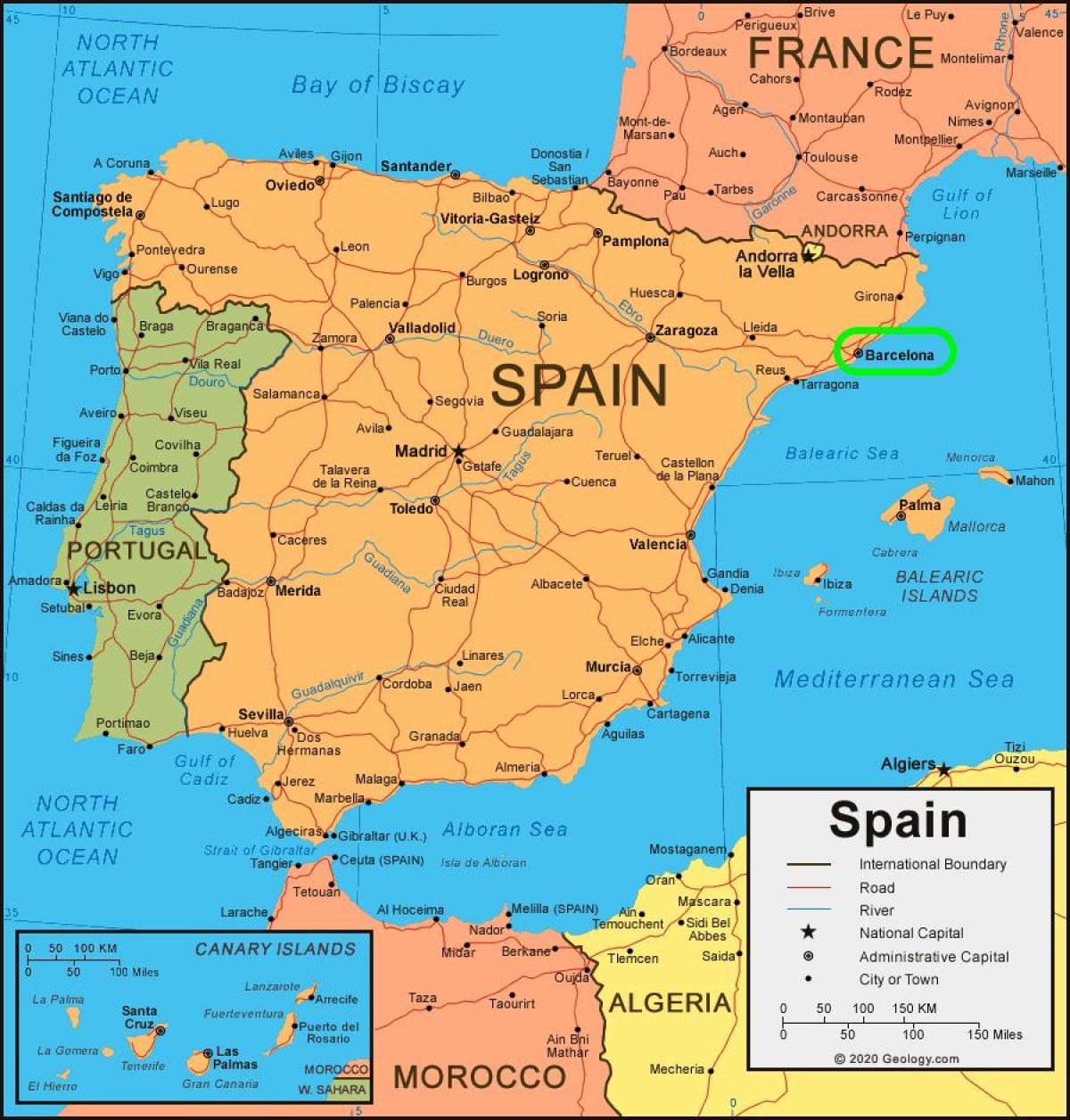 Barcelona Espanja Kartta Kartan Espanjassa Ja Barcelonassa