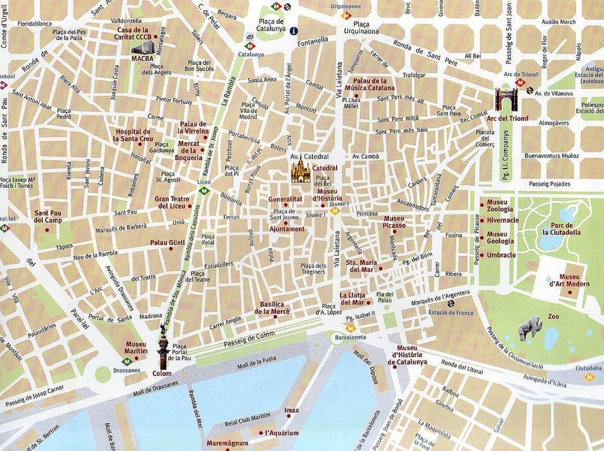 Barcelonan Vanhan Kaupungin Kartta Kartta Barcelonan Vanha