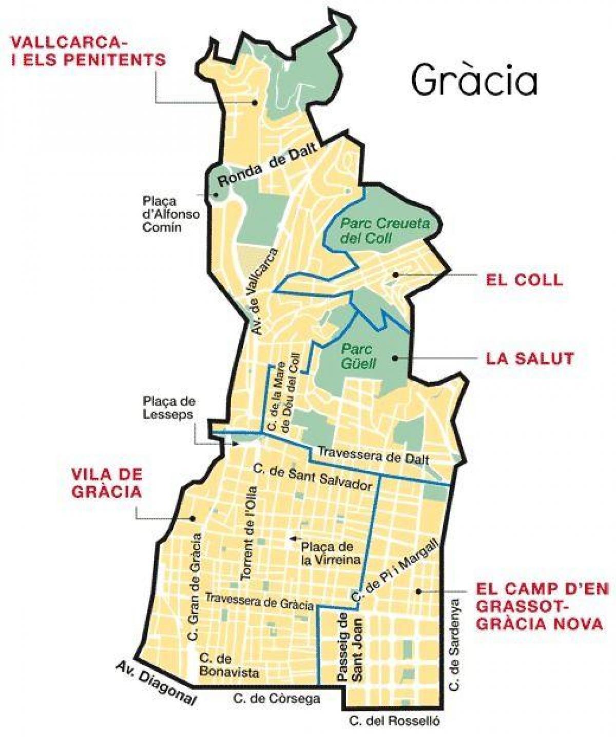 Gracia Barcelona Kartta Kartta Gracia Barcelonassa Katalonia
