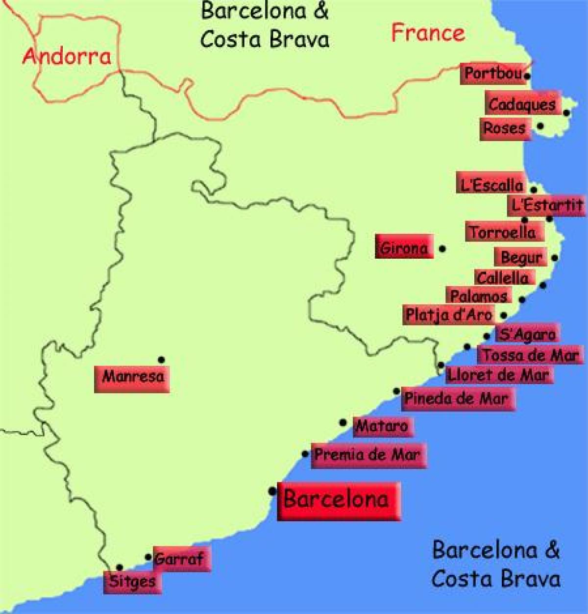 Kartta Barcelonan Rannikko Kartta Kartta Barcelonan Rannikko